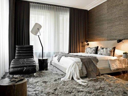 chique slaapkamer, vloerkleed, ligstoel, nachtlamp, commode ...