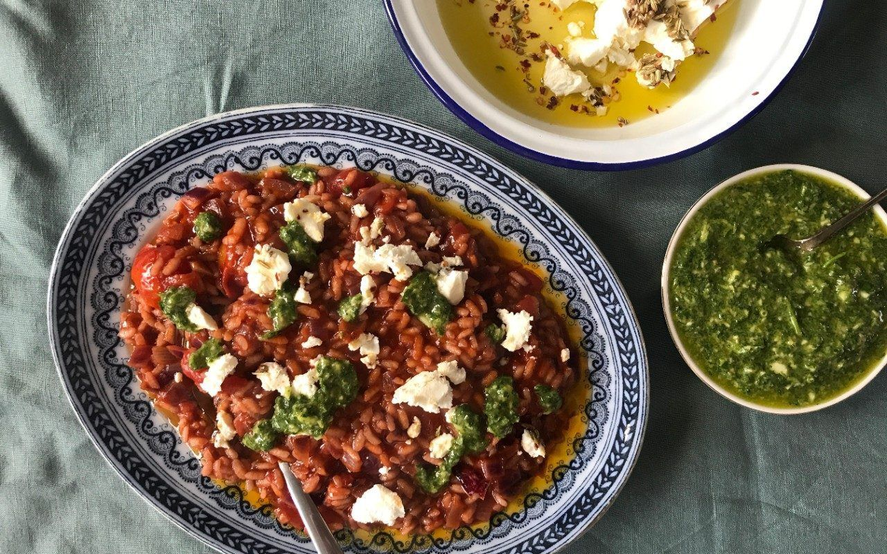 Friday night dinner: Tomato risotto with marinated feta and green sauce #fridaynightdinner Friday night dinner: Tomato risotto with marinated feta and green sauce #fridaynightdinner