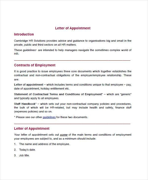 sample appointment letters employee letter template for word doc - appointment letters in doc