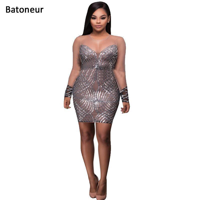 Batoneur Vestidos full sleeve lace dress Sequinned Club Dress O Neck Patchwork fashion bandage dress