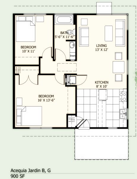 Acequia Jardin 900 Sf Unit 800 Sq Ft House Small House Floor Plans 20x30 House Plans