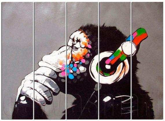 Dj Monkey With Headphones Oil Painting Underground Culture Etsy Monkey Art Banksy Art Banksy Monkey