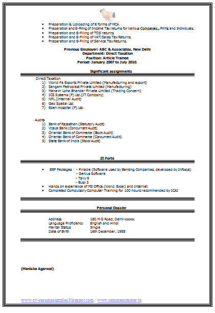 Best Chartered Accountant CV (Page 2) | Career | Pinterest ...