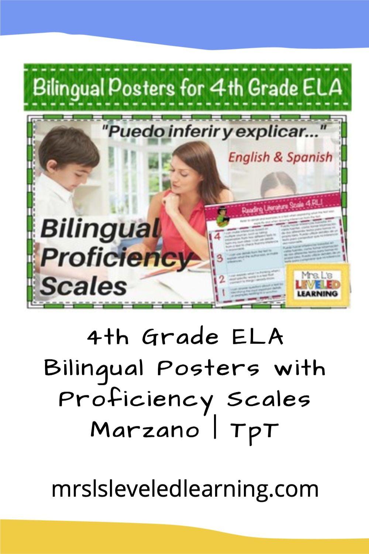 4th Grade ELA Bilingual Posters with Proficiency Scales Marzano | TpT