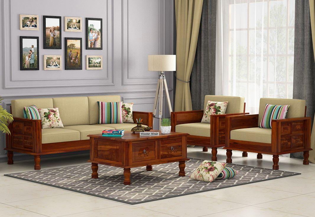 Buy Emboss Wooden Sofa 3 1 1 Set Online In India Wooden Sofa