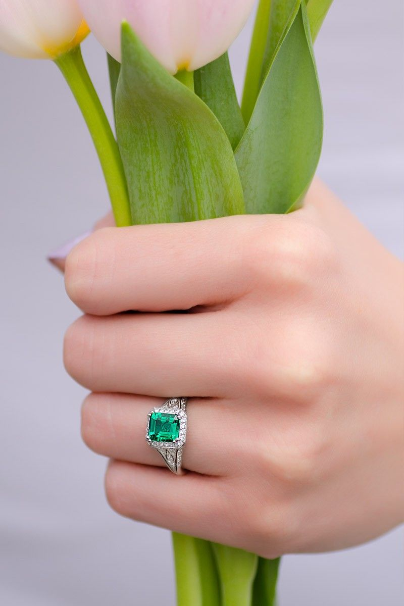 Sebastien Barier Emerald & Pave Diamond Ring | Emerald diamond ...