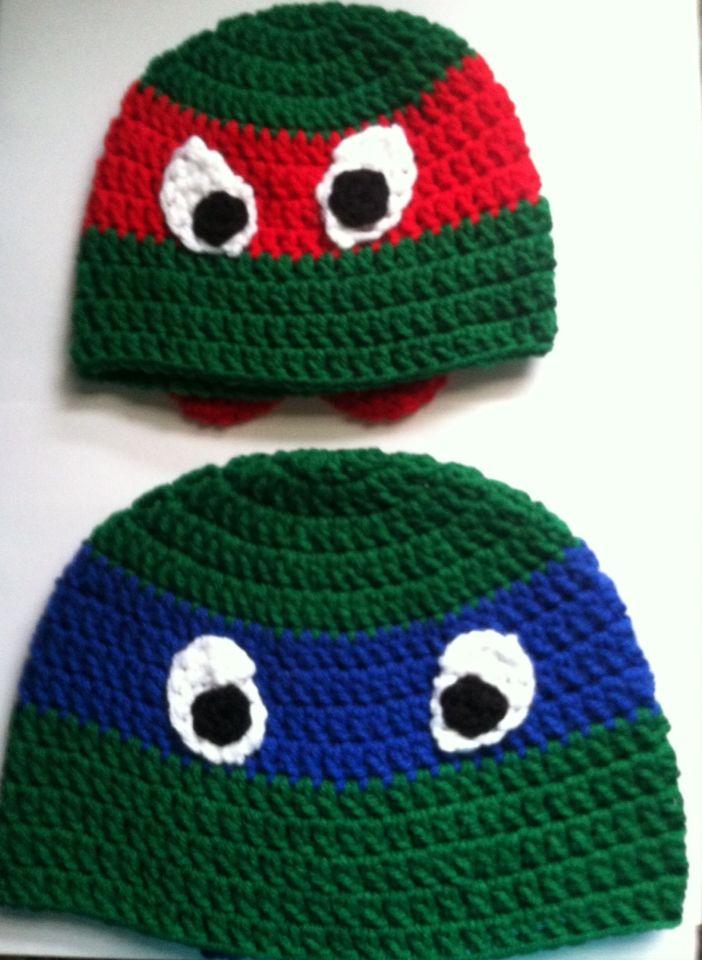 Ninja Turtle Crochet Baby Hat Pattern : Ninja turtle hats Touques! Pinterest Ninja turtle ...