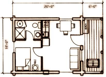 Cabin With Bath And Kitchenette Floor Plan Cabin Floor Plans Small House