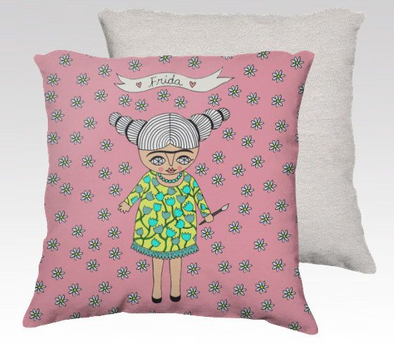 Lovely pillow case with one of my Frida illustrations!    Title: FRIDA WITH FLOWERS (pink)      Features:    - Super soft velveteen printed front and