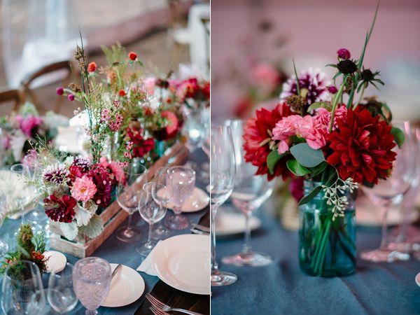 fuchsia wedding flowers - photo by Imagen Photos http://ruffledblog.com/california-winery-wedding-with-fuchsia-accents