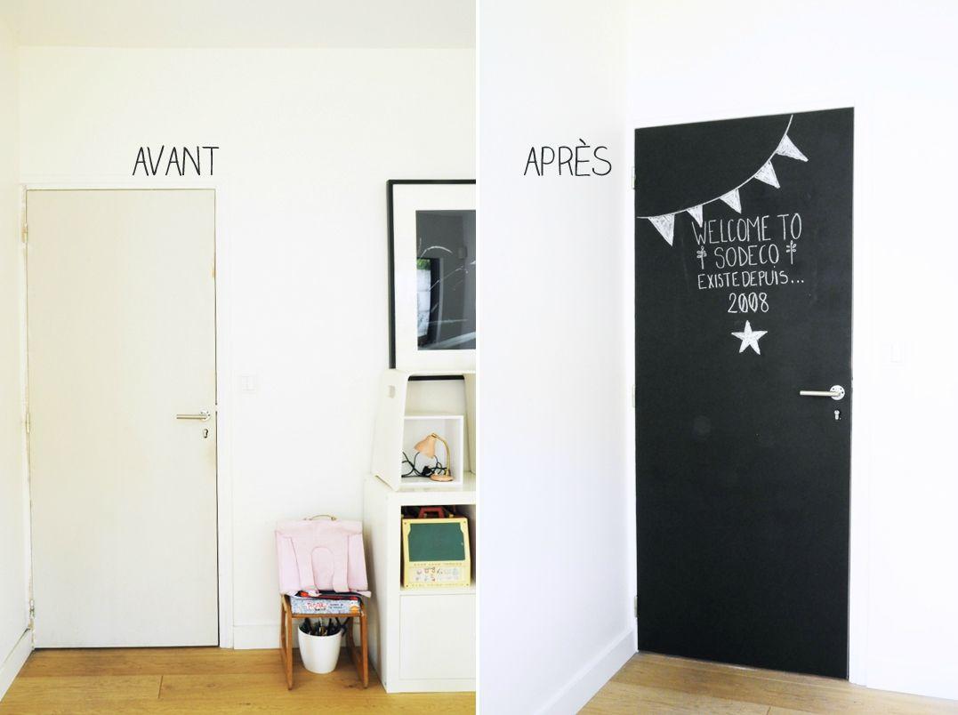 Tableau noir id es pour la maison pinterest tableau noir tableau et noir - Deco peinture porte interieure ...