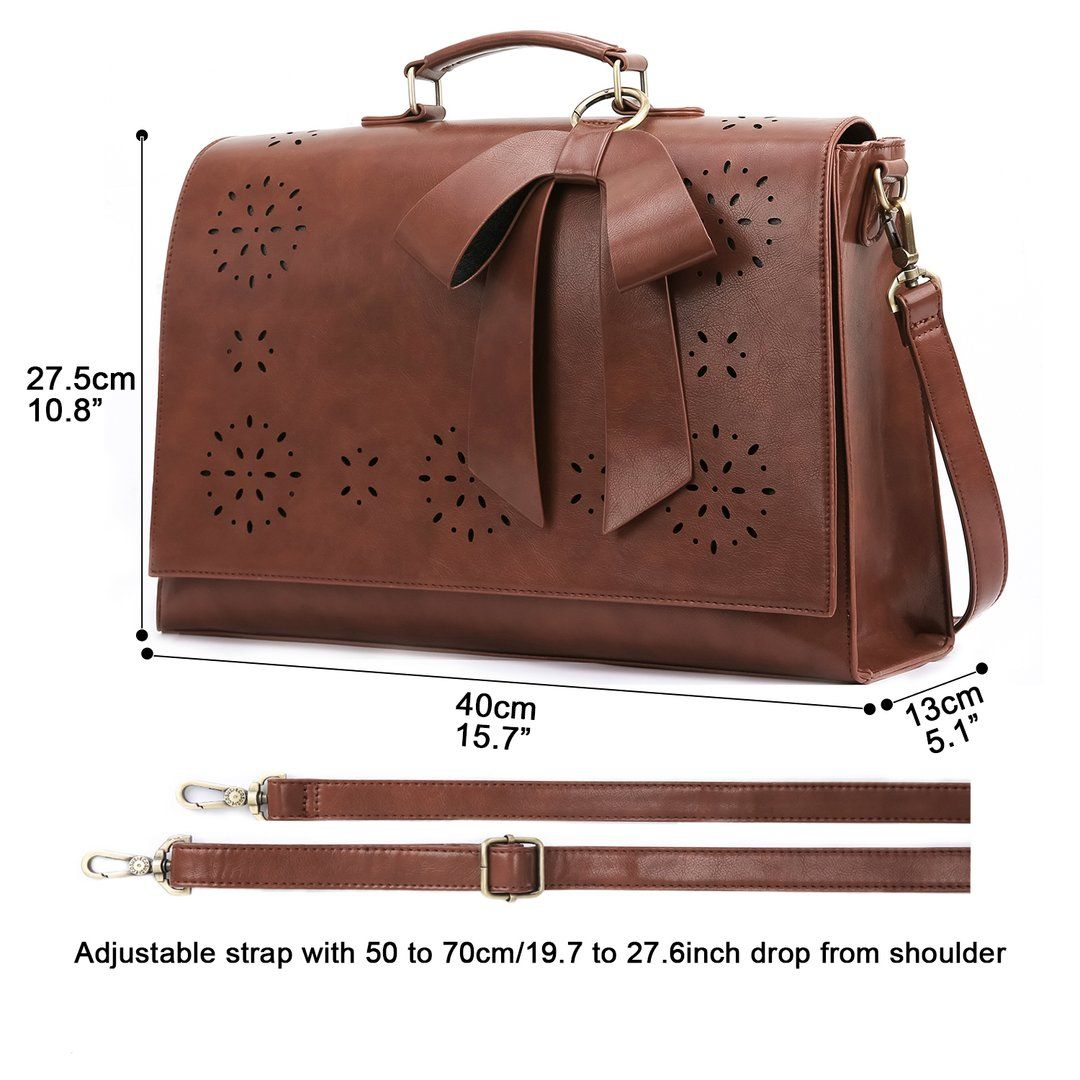 This vintage Faux leather Briefcase's durable structure and irresistible design are the perfect combinations. Carry as a Womens Briefcase, handbag, shoulder bag. The bow in the front adds a nice feminine touch to a professional looking bag. Fits 15.6-inch Laptop.