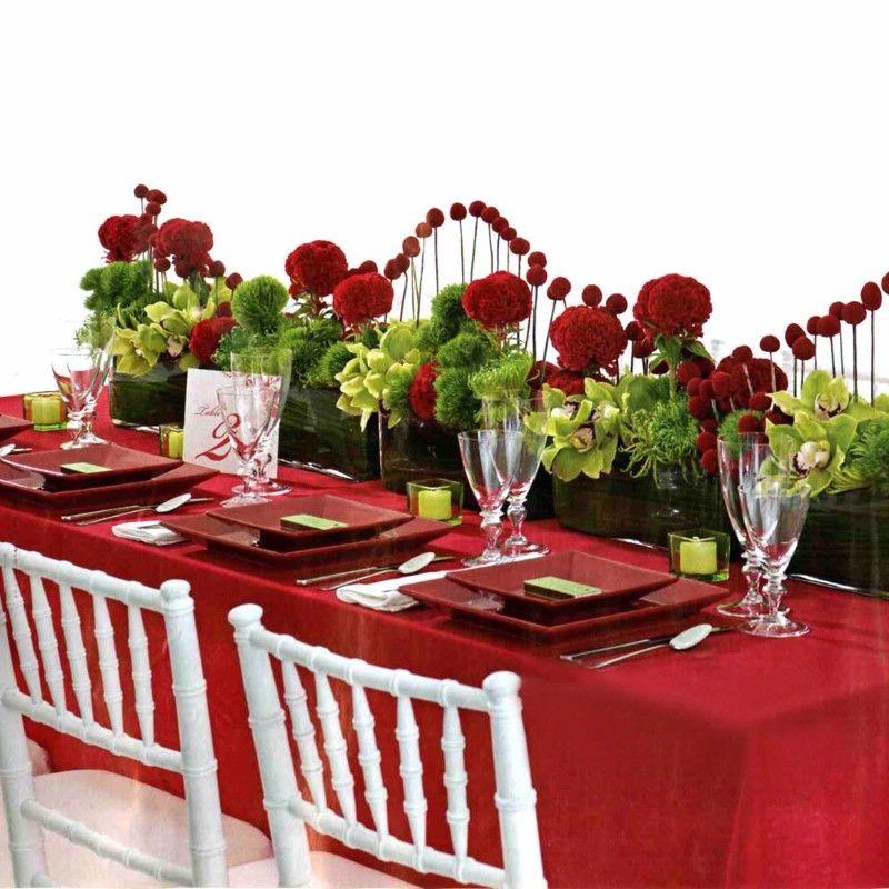 Red And Green Tablescape Tischdekoration Hochzeit Blumen
