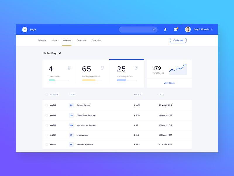 Dashboard Invoice Pinterest Ui ux, Ui inspiration and Ux design - invoice web app