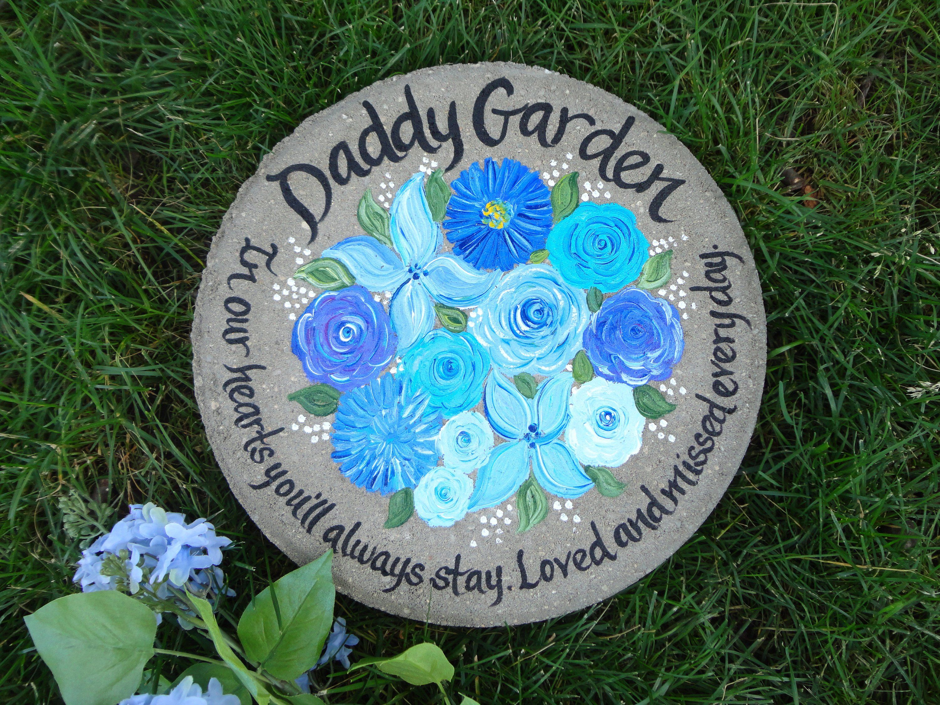 Fathers memorial personalized purple irises stepping