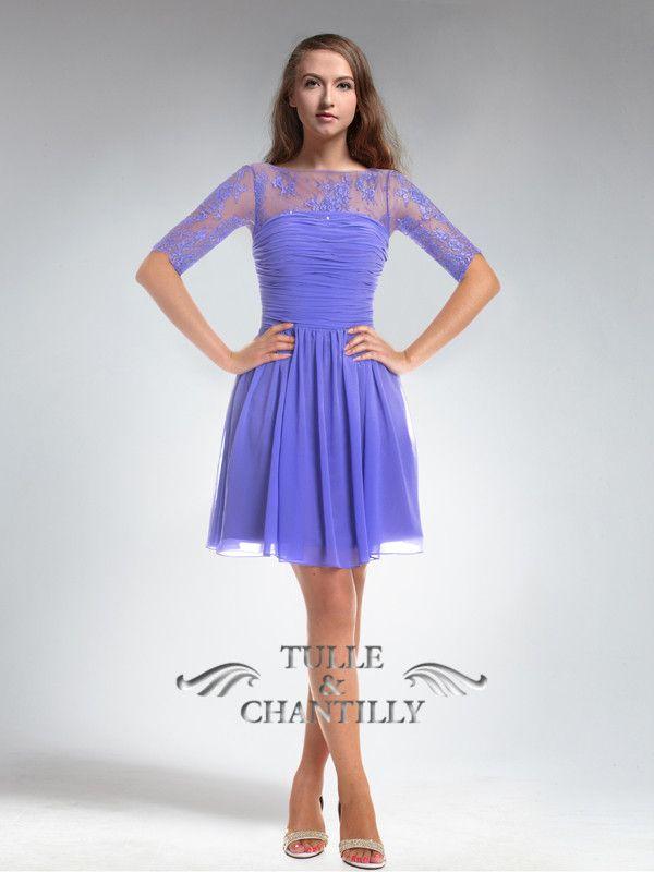 purple short one sleeve chiffon dresses