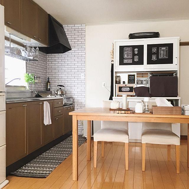 キッチン しまむらのキッチンマット 壁付けキッチン 無印良品 テーブル