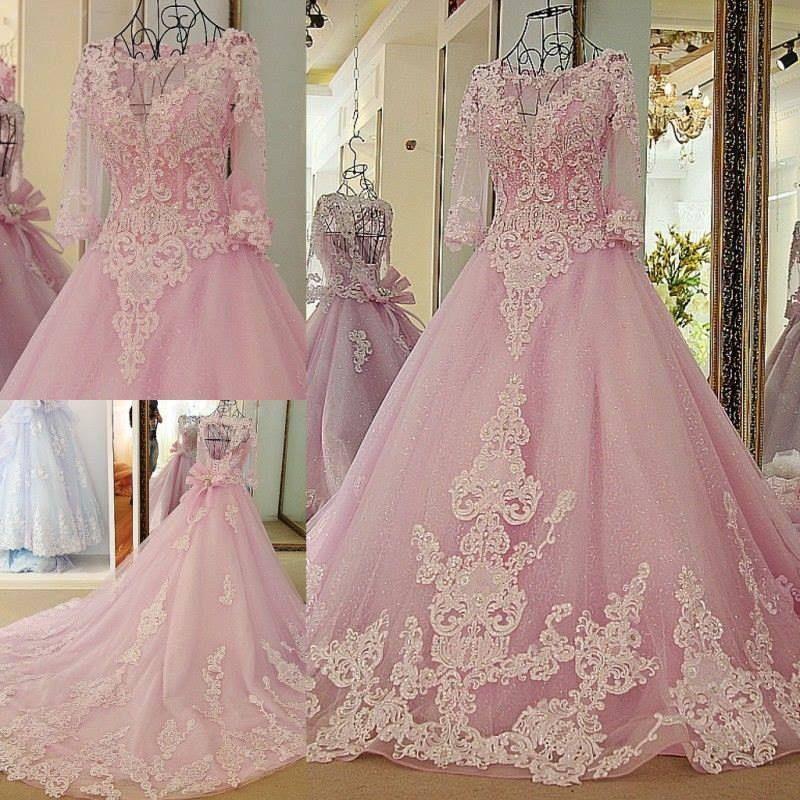 Barato Rosa vestido de Baile Sexy Coloridos Vestidos de Casamento ...