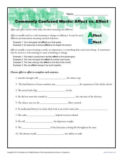 Affect vs. Effect Worksheet   Commonly confused words ...