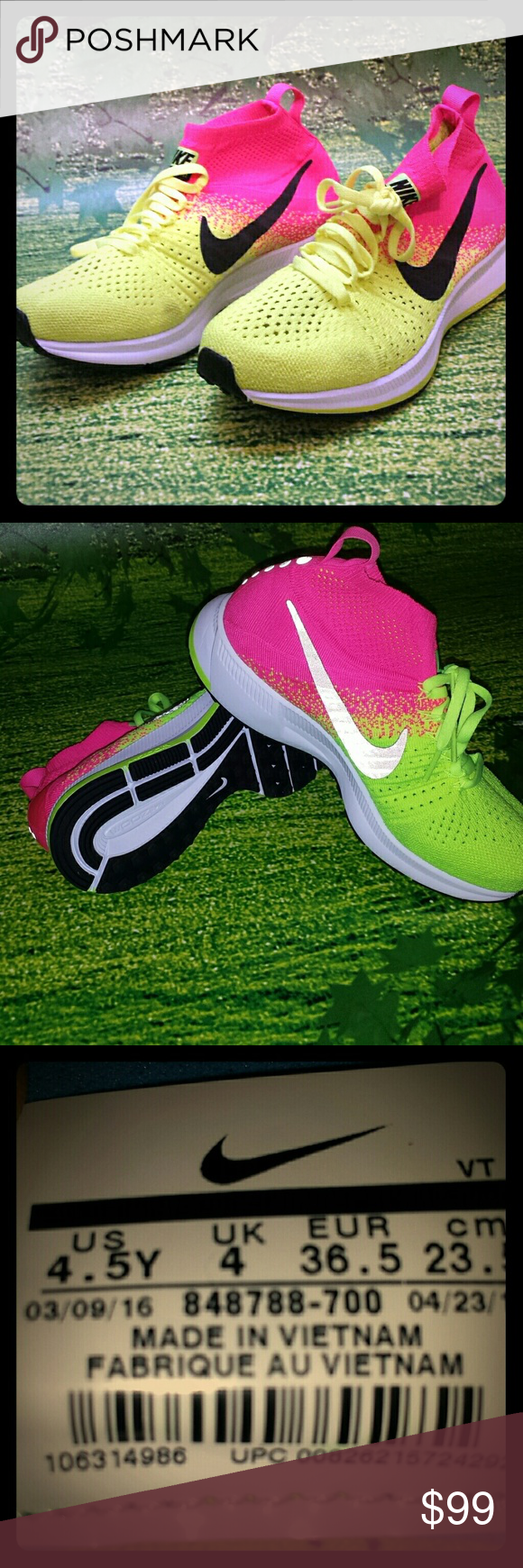 446016592690 Nike Zoom Pegasus All Out Flyknit 4.5Y Sneakers Nike Zoom Pegasus All Out  Flyknit 4.5