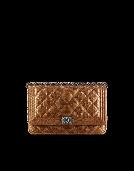 75726296381d Boy CHANEL wallet on chain, metallic effect python & ruthenium metal-bronze  - CHANEL