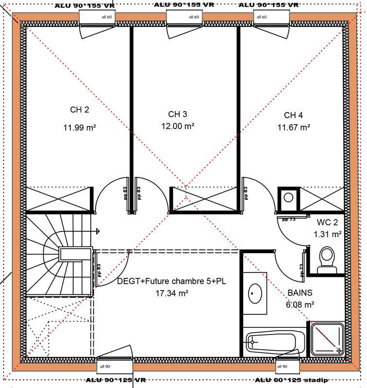149 m 4 chambres 1 tage vue etage maison for Plan de maison a etage 4 chambres