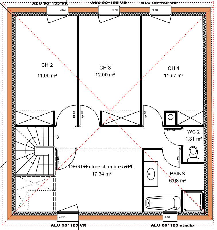 149 m 4 chambres 1 tage vue etage id es amany plan house floor plans house plans et - Plan etage 3 chambres ...