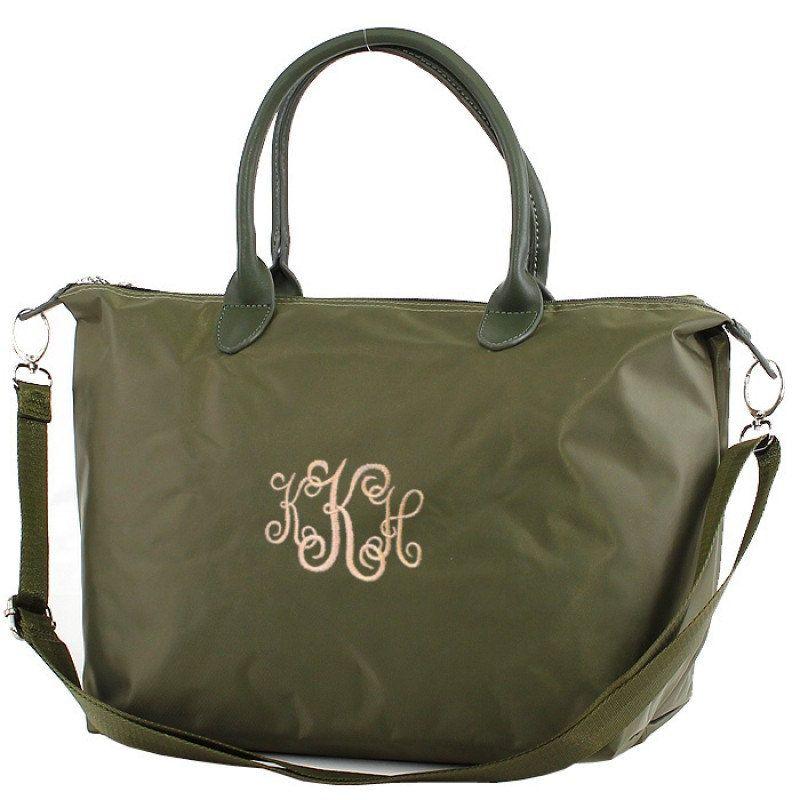 monogram weekender bag personalized small olive weekeneder bag