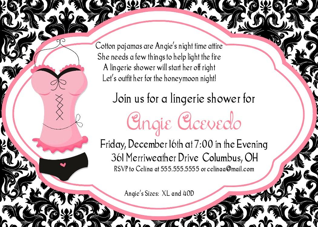 Lingerie Shower Invitation Despedida Soltera Pinterest