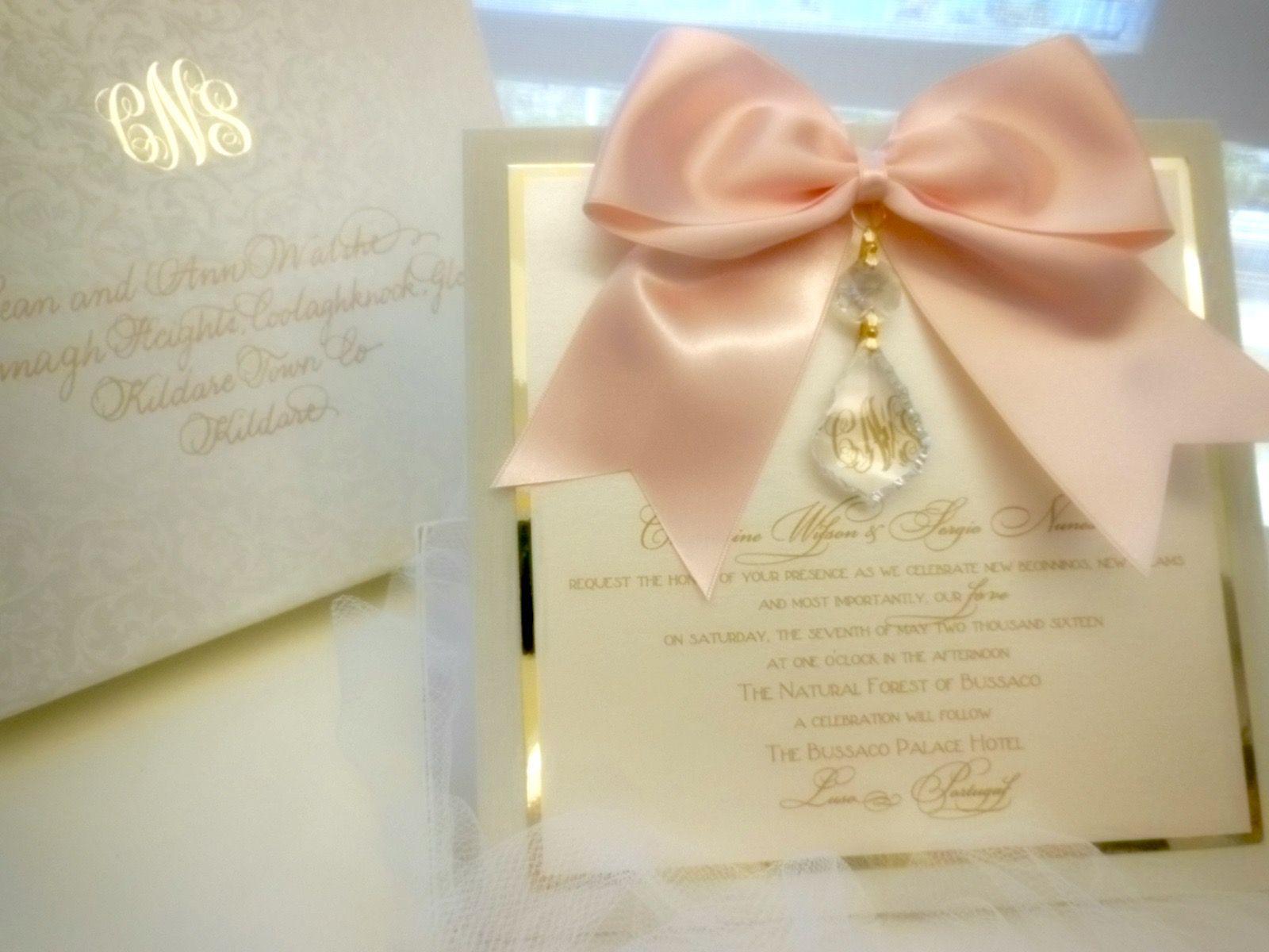 Versailles blush & gold hanging crystal wedding invitation xo ...