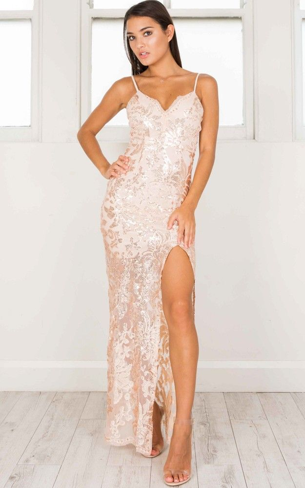 Showpo Spellbinding Maxi Dress in rose gold - 6 (XS) Occasion ...