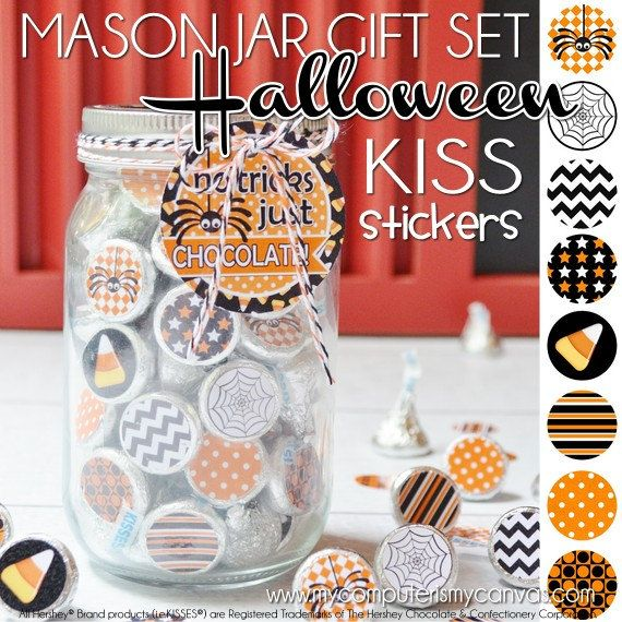 Darling HALLOWEEN Printable - Chocolate KISS Stickers, Mason Jar Gift Set that comes with a lid topper and tag.  No Tricks Just CHOCOLATE! #mycomputerismycanvas