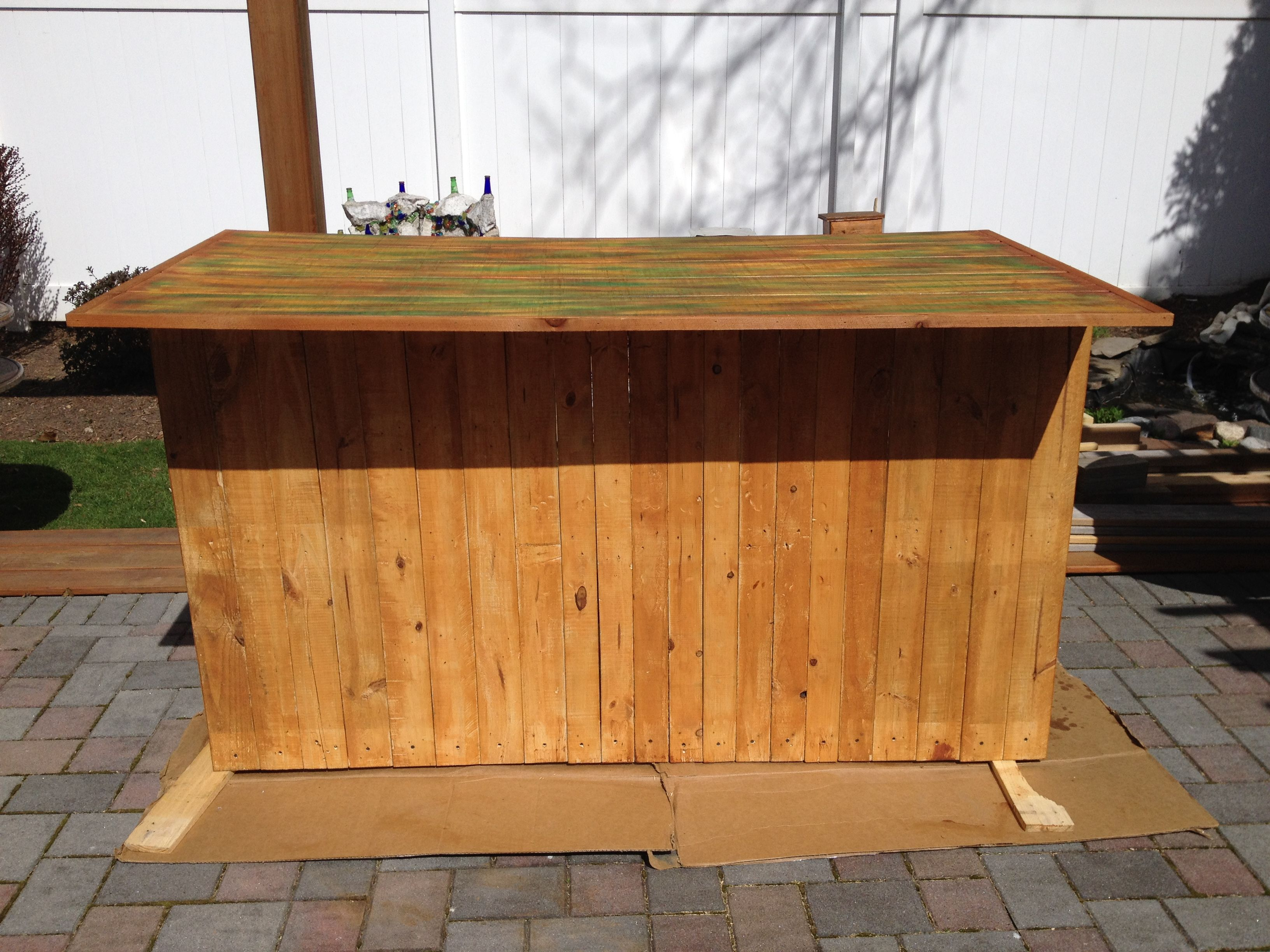 Outdoor Bar made from pallet wood for base with wood top. | Outdoor ...