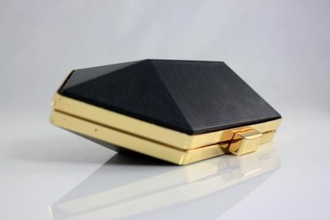 8 x 3.5 inch - Gold Hexagonal Metal Box Clutch Frame with Covers ...