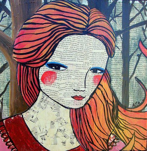 Little Red: Mixed media collage by Australian artist Ali J