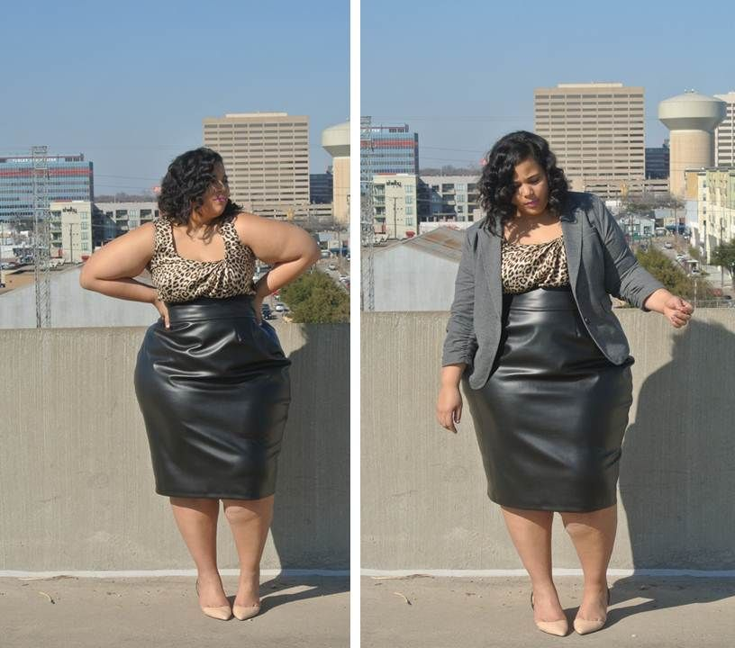 326b84aeb48 Plus Size High Waist Leather Skirt