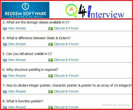 redeem software Interview questions and answers shared by q4i user - interview questions and answers