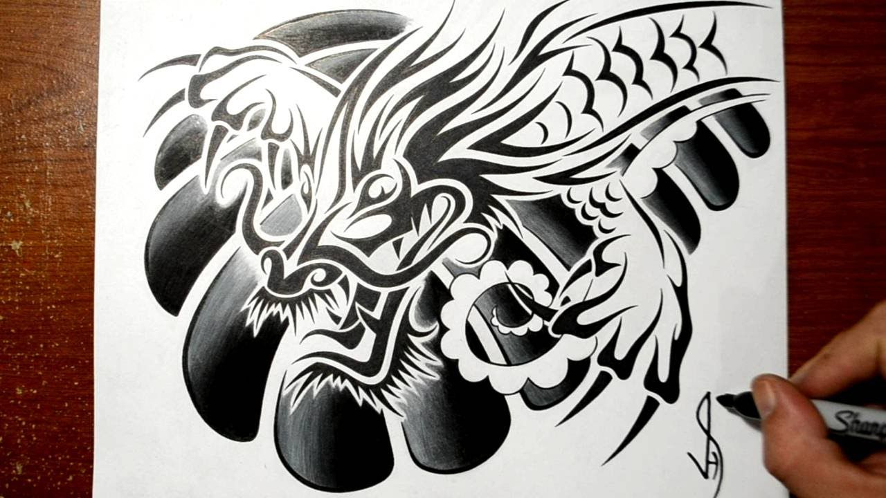 Designing A Tribal Chinese Dragon Chest Tattoo Design Chest Tattoo Tattoo Drawings Chest Tattoo Drawings