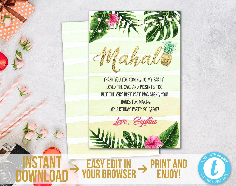 Aloha Thank You Card Hawaiian Thank You Card Hibiscus Thank You Card for Girl Birthday Digital Printable File Luau Thank You