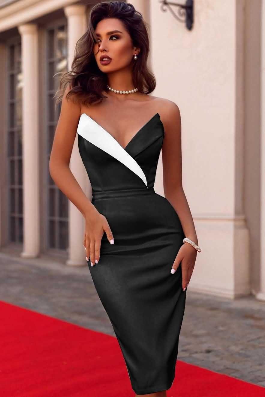 Black Strapless Contrast Wrap y Dress -   15 dress Beautiful classy ideas