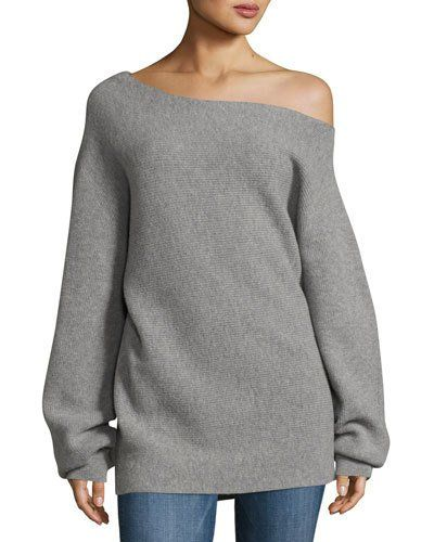 302980af463 TVTXG Theory One-Shoulder Ribbed Royal Wool Sweater, Gray | Fashion ...