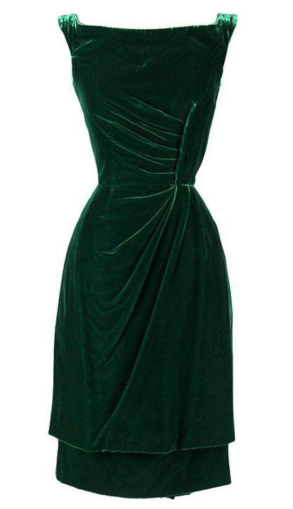 Vintage 1950's Ceil Chapman Emerald Green Silk Velvet Dress