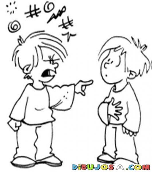 Dibujo De Nino Peleonero Maltratando Y Diciendo Malas