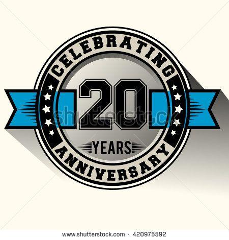 Celebrating 20 Years Anniversary Logo 20th Anniversary Sign With