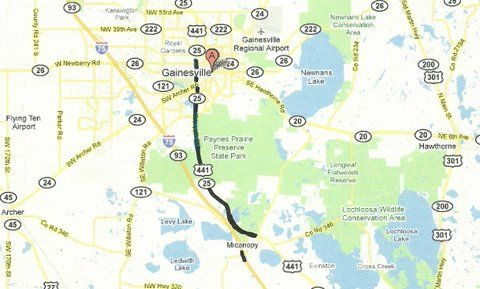 Florida Backroads Travel map showing route from Gainesville to ...