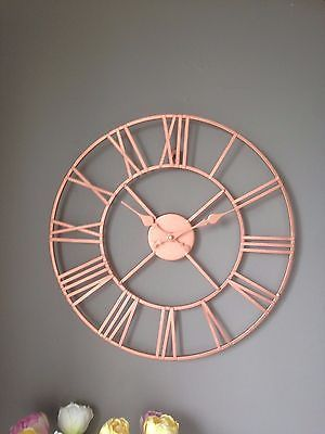 Details about Rose Gold / Copper Colour Metal Skeleton Wall Clock Roman Numerals 40 cm images