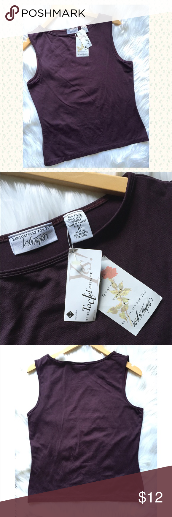 Lord & Taylor eggplant color shell top NWT⚡️ NWT versatile eggplant purple satiny feel shell top from Lord & Taylor. Size M, may fit up to a smaller L as well. 22in. long, chest 18in. across. 92% nylon/8% spandex blend. Lord & Taylor Tops Blouses