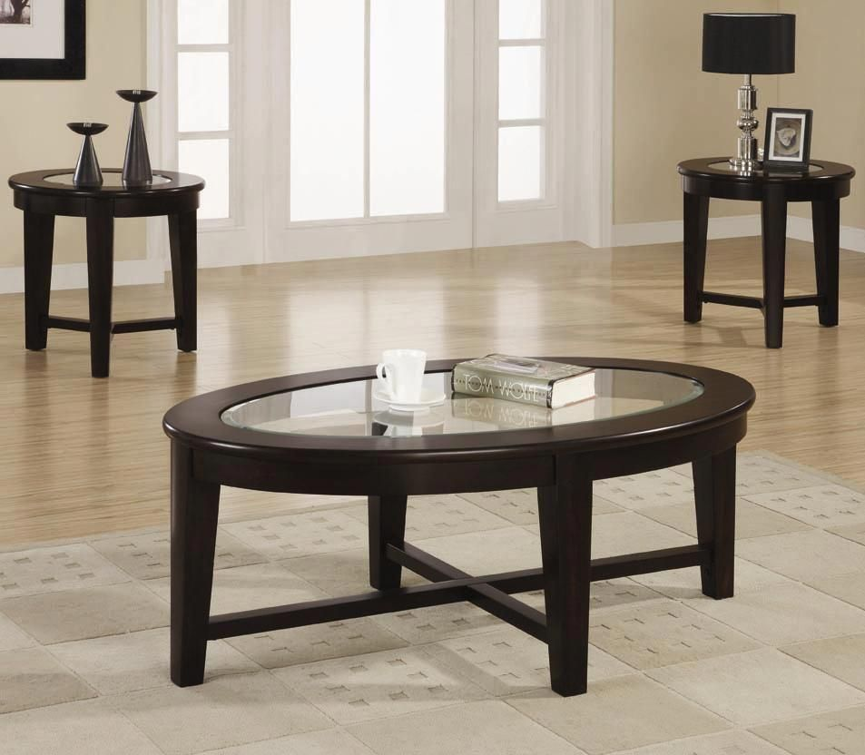 3 Piece Table Set With Glass Tops By Coaster Round End Table 150