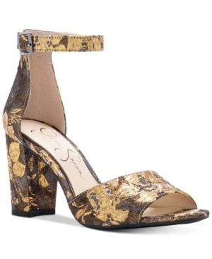 f48029c0a05 Jessica Simpson Sherron Two-Piece Block-Heel Sandals - Gold Brocade 8.5M