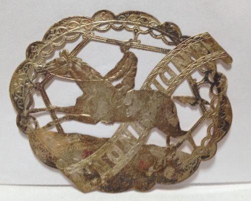 Victorian-Die-Cut-Gold-Dresden-Embossed-Fabric-Scrap-Label-Jockey-Horse